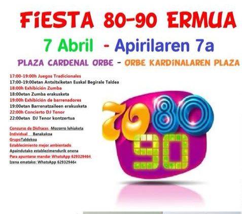 Ermua viajará en el tiempo éste sábado con la fiesta 80-90